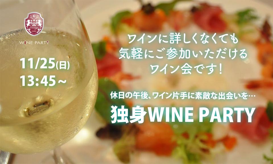 11月25日(日)休日の午後、ワイン片手に素敵な出会いを…「独身 WINE PARTY」IN銀座【アラサー・アラフォー中心】